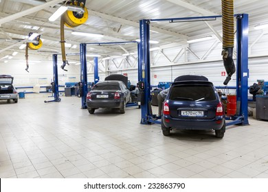 MOSCOW. RUSSIA - NOVEMBER 17, 2014: Cars for repair service station. Auto Service is the official dealer of Auto VAZ