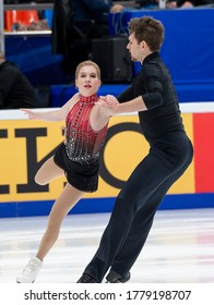 MOSCOW, RUSSIA – NOVEMBER 17,2018: Ekaterina Alexandrovskaya and Harley Windsor of Australia compete in the Pairs free skating, on day two of the ISU Grand Prix of Figure Skating - Rostelecom Cup 2018