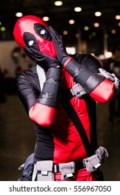 Moscow, Russia - November 20, 2016: Cosplayer posing at the Gamefilmexpo festival dedicated to video games, TV series and comics, anime, manga, cosplay.