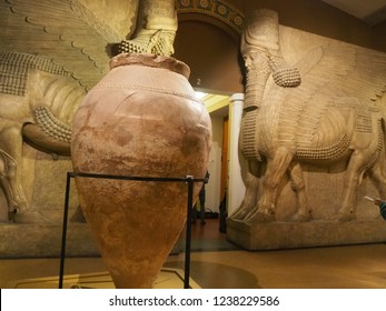 Moscow, Russia - November 20, 2018 - Pushkin state museum of fine art. copies of ancient statuary of Greek statues and Pharaohs for education of art studen