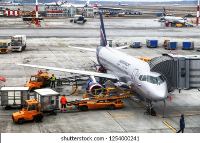 Moscow, Russia - November 20, 2018: Aeroflot - Russian Airlines Sukhoi Superjet 100-95B is boarded in the Sheremetyevo International Airport.