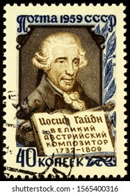 Moscow, Russia - November 20, 2019: stamp printed in USSR (Russia) shows portrait of Franz Joseph Haydn (1732-1809), Austrian classical composer, circa 1959