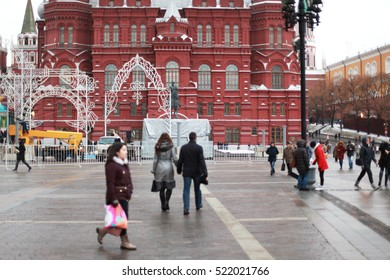 MOSCOW, RUSSIA, November 2016: People walk on Red Square near the Kremlin.