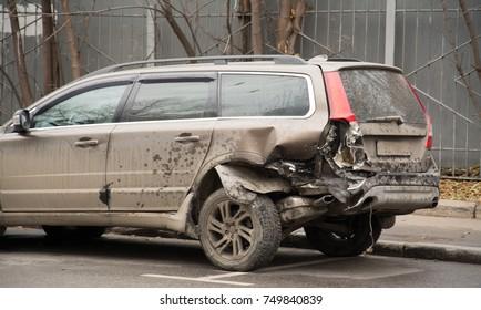 Moscow, Russia - november 2017. Crash car