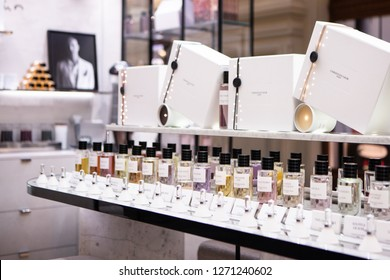 Moscow, Russia - November, 2018: Dior Beauty Products On Display At Flagship Store In Moscow. New Collection Of Perfumes In Moscow Boutique. Luxury store Dior in Moscow.