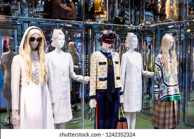 Moscow, Russia - November, 2018: Fashion Week Gucci shopping. Collection Fall Winter 2019 - Spring Summer 2019, Pre-Fall, Eclectic. Luxury store Gucci in Moscow.