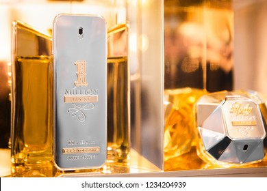 Moscow, Russia - November, 2018: Perfume Limited Edition 1 Million From Paco Rabanne And Lady Milliln And Million Lucky In Gold Design In Paco Rabanne Boutique. Luxury store Paco Rabanne in Moscow.