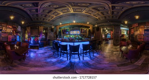 MOSCOW, RUSSIA - NOVEMBER, 2019: Full spherical seamless hdri  panorama 360 degrees in interior stylish vintage restaurant nightclub bar in equirectangular  projection. AR VR content
