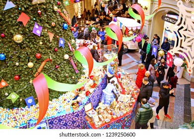 MOSCOW, RUSSIA - November 21, 2018: Christmas festive decorations in Trade house GUM on Red square - shopping mall in the center of city, the interior of the store decorated for New Year and Christmas