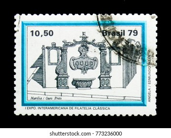 MOSCOW, RUSSIA - NOVEMBER 23, 2017: A stamp printed in Brazil shows Marilia, Fountain serie, circa 1979