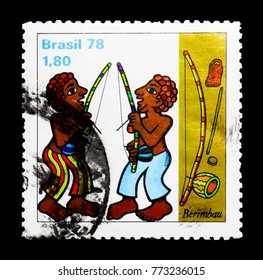 MOSCOW, RUSSIA - NOVEMBER 23, 2017: A stamp printed in Brazil shows Berimbau, serie, circa 1978