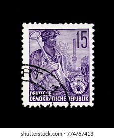 MOSCOW, RUSSIA - NOVEMBER 23, 2017: A stamp printed in Germany (DDR) shows Steel Schmelzer, Five year plan serie, circa 1957