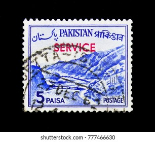 MOSCOW, RUSSIA - NOVEMBER 23, 2017: A stamp printed in Pakistan shows Khyber Pass, Country Views serie, circa 1963