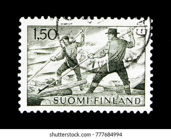 MOSCOW, RUSSIA - NOVEMBER 23, 2017: A stamp printed in Finland shows Floaters, Forestry serie, circa 1963