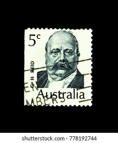 MOSCOW, RUSSIA - NOVEMBER 23, 2017: A stamp printed in Australia shows George H. Reid portrait, Famous Australians serie, circa 1969