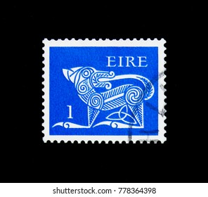 MOSCOW, RUSSIA - NOVEMBER 23, 2017: A stamp printed in Ireland  shows Stylised Dog, 7th Century Brooch, Early Irish Art 1971-75 serie, circa 1971