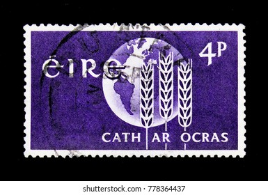MOSCOW, RUSSIA - NOVEMBER 23, 2017: A stamp printed in Ireland  shows Globe and wheat, Freedom from Hunger, serie, circa 1963