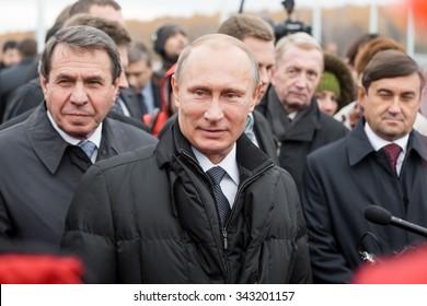 Moscow, Russia - November 24, 2015: Vladimir Vladimirovich Putin (Russian President) in car