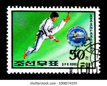 MOSCOW, RUSSIA - NOVEMBER 24, 2017: A stamp printed in Democratic People's republic of Korea shows World Championship of Taekwondo, 8th World Taekwondo Championship, Pyongyang serie, circa 1992