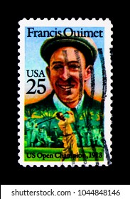 MOSCOW, RUSSIA - NOVEMBER 24, 2017: A stamp printed in USA shows Francis Ouimet (1893-1967), 1st Amateur Golfer to Win the US, American Sports Issue serie, circa 1988
