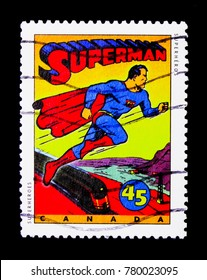 MOSCOW, RUSSIA - NOVEMBER 24, 2017: A stamp printed in Canada shows Comics Characters- Superman, Comic Book Superheroes serie, circa 1995