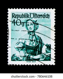 MOSCOW, RUSSIA - NOVEMBER 24, 2017: A stamp printed in Austria shows Woman in provincial costume, Vienna (1840), serie, circa 1958