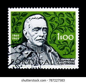 MOSCOW, RUSSIA - NOVEMBER 24, 2017: A stamp printed in Portugal shows President Oscar Antonio de Fragoso Carmona (1869-1951), 
