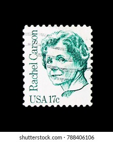 MOSCOW, RUSSIA - NOVEMBER 24, 2017: A stamp printed in USA shows Rachel Carson, Great Americans serie, circa 1981