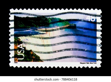 MOSCOW, RUSSIA - NOVEMBER 24, 2017: A stamp printed in USA shows Niagara Falls, Landscapes serie, circa 1999