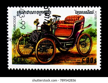 MOSCOW, RUSSIA - NOVEMBER 24, 2017: A stamp printed in Cambodia shows Barbarou (1898), Vintage cars serie, circa 1999
