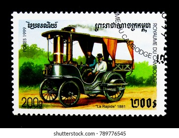 MOSCOW, RUSSIA - NOVEMBER 24, 2017: A stamp printed in Cambodia shows La Rapide (1881), Vintage cars serie, circa 1999