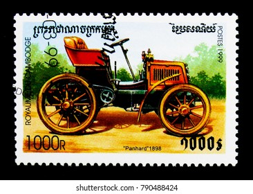 MOSCOW, RUSSIA - NOVEMBER 24, 2017: A stamp printed in Cambodia shows Panhard (1898), Vintage cars serie, circa 1999