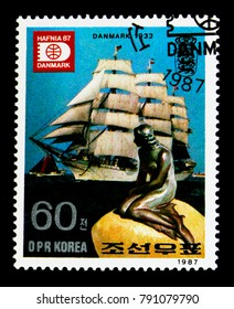 MOSCOW, RUSSIA - NOVEMBER 24, 2017: A stamp printed in Democratic People's republic of Korea shows Sailingboats, The Little Mermaid, HAFNIA '87, International Stamp Exhibition, circa 1987