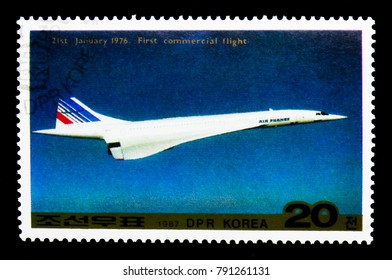 MOSCOW, RUSSIA - NOVEMBER 24, 2017: A stamp printed in Democratic People's republic of Korea shows Concorde jetliner, Aircraft serie, circa 1987