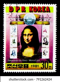 MOSCOW, RUSSIA - NOVEMBER 24, 2017: A stamp printed in Democratic People's republic of Korea shows Mona Lisa, six French stamps, International Stamp Exhibition PHILEXFRANCE, Paris serie, circa 1981