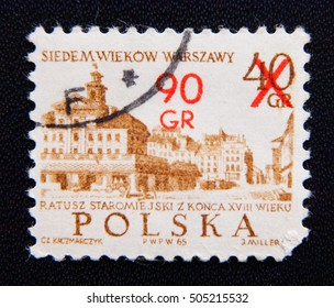MOSCOW RUSSIA - NOVEMBER 25, 2012: A stamp printed in Poland to commemorate UNESCO World Heritage shows 18th Century Old Town Hall, circa 1965