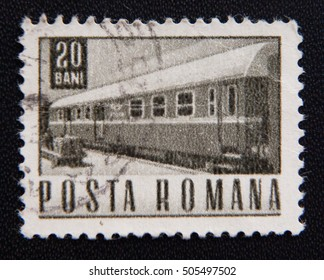 MOSCOW RUSSIA - NOVEMBER 25, 2012: A stamp printed in Romania shows old train, circa 1967