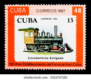 MOSCOW, RUSSIA - NOVEMBER 25, 2017: A stamp printed in Cuba shows Cuban stamps #2361, Cuban Railways, 150th anniversary serie, circa 1987