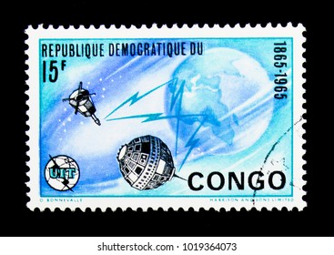 MOSCOW, RUSSIA - NOVEMBER 25, 2017: A stamp printed in Congo Democratic Republic shows Telecommunication, International Telecommunication Union, Centenary serie, circa 1965