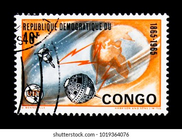 MOSCOW, RUSSIA - NOVEMBER 25, 2017: A stamp printed in Congo Democratic Republic shows Telecommunications, International Telecommunication Union, Centenary serie, circa 1965