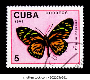 MOSCOW, RUSSIA - NOVEMBER 25, 2017: A stamp printed in Cuba shows Giant Tiger (Papilio zagreus), Butterflies serie, circa 1989