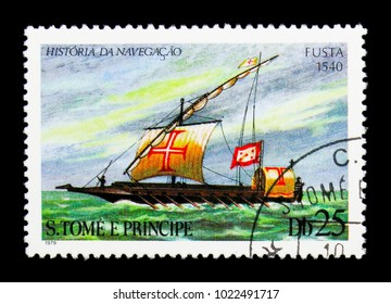 "MOSCOW, RUSSIA - NOVEMBER 25, 2017: A stamp printed in Sao Tome and Principe shows Galley ""Fusta"" (1540), Sailing ships serie, circa 1979"