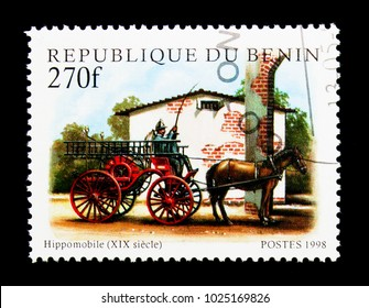 MOSCOW, RUSSIA - NOVEMBER 25, 2017: A stamp printed in Benin shows Hippomobile -19th century, Fire brigade serie, circa 1998