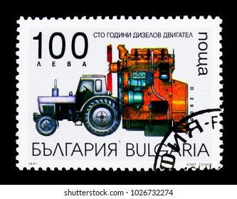 MOSCOW, RUSSIA - NOVEMBER 25, 2017: A stamp printed in Bulgaria devoted to 100th anniversary of invention of the Diezel engine, Transport serie, circa 1997