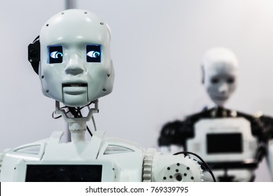 """Moscow, Russia, November 25, 2017: 5-th international exhibition of robotics and advanced technology """"Robotics Expo"""" in Moscow. Focus on the head, soft focus"""
