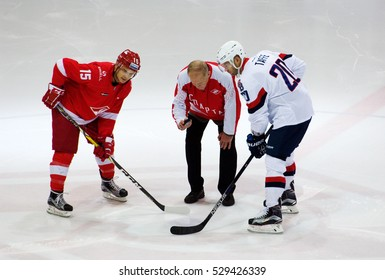 MOSCOW, RUSSIA - NOVEMBER 26, 2016: on hockey game Spartak vs Slovan on Russian KHL premier hockey league Championship in Luzhniki sport arena, Moscow, Russia. Spartak won 4:2