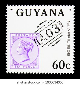 MOSCOW, RUSSIA - NOVEMBER 26, 2017: A stamp printed in Guyana shows Queen Victoria six pence 1856, Great Britain Postal use in British Guiana, 150th Anniversary serie, circa 1983
