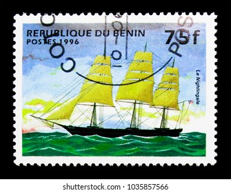 MOSCOW, RUSSIA - NOVEMBER 26, 2017: A stamp printed in Benin shows Nightingale (Full-rigged ship), Sailing Ships serie, circa 1996