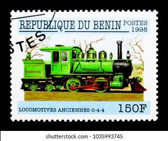 MOSCOW, RUSSIA - NOVEMBER 26, 2017: A stamp printed in Benin shows 0-4-4 Locomotive, Early Locomotives serie, circa 1998