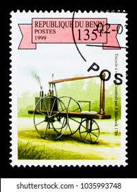 MOSCOW, RUSSIA - NOVEMBER 26, 2017: A stamp printed in Benin shows A. Murdock's Steam Tricycle, 1786, Steam-powered Vehicles serie, circa 1999
